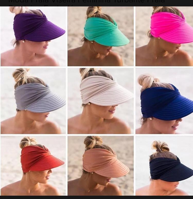 Viseira Turbante Branco Feminina Praia Com Proteção Solar UV 50+