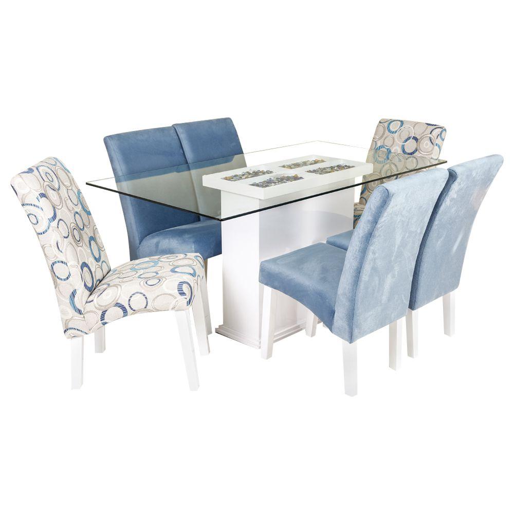 Conjunto Sala de Jantar Mesa Dubai e 6 Cadeiras Dubai