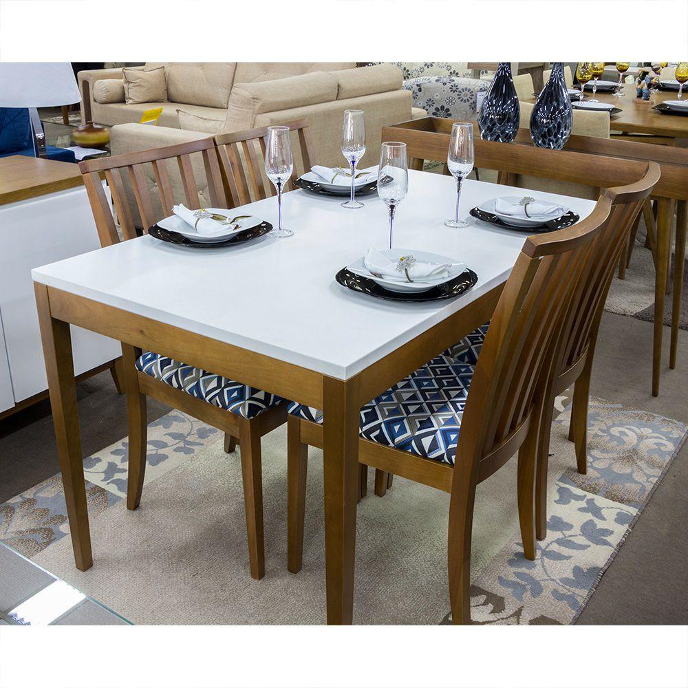Conjunto Sala de Jantar Mesa Duo Arsoli e 4 Cadeiras Juno