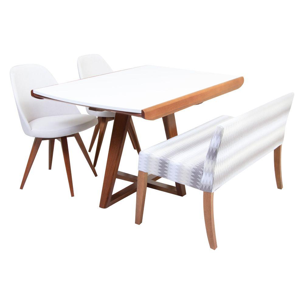 Conjunto Sala de Jantar Mesa Elástica Ella, Banco Evidence e 2 Cadeiras Lucy