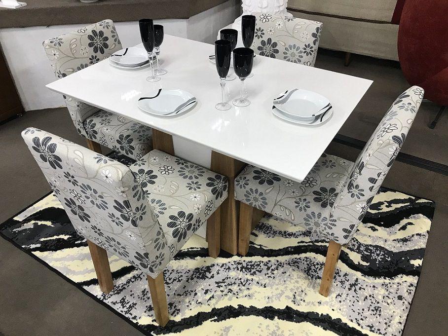Conjunto Sala de Jantar Mesa Orus e 4 Cadeiras Dubai III