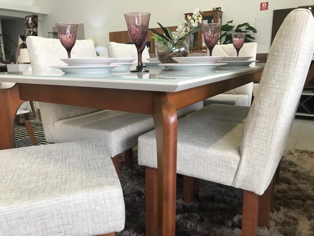 Conjunto Sala de Jantar Top Light e 6 Cadeiras Rubi