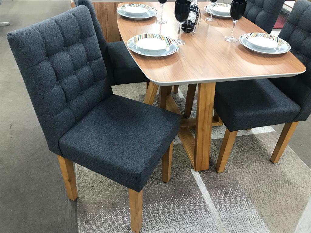 Sala de Jantar Mesa Bennet com 4 Cadeiras Jully