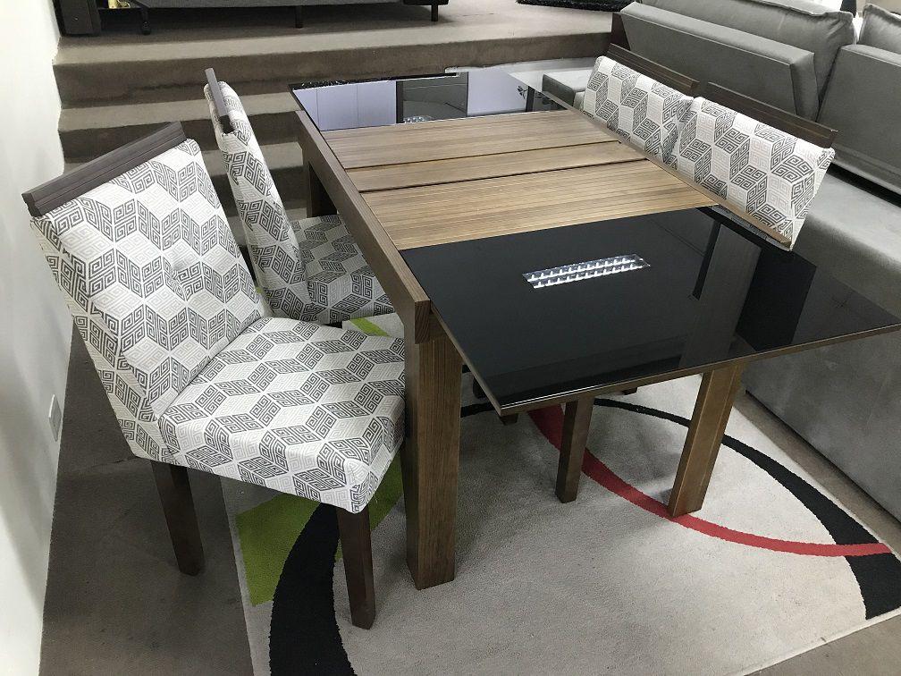 Sala de Jantar Mesa Elástica Laf com 4 Cadeiras Gênova