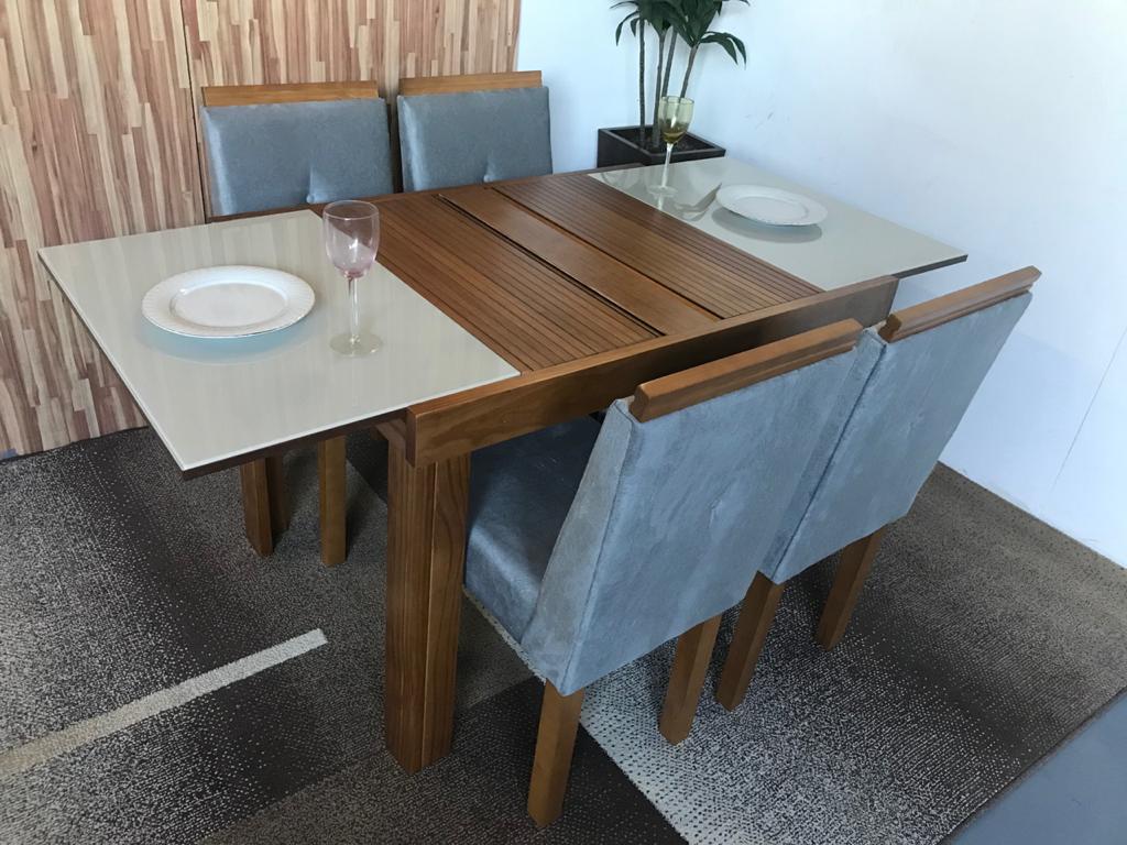 Sala de Jantar Mesa Elástica Londres com 4 Cadeiras Gênova