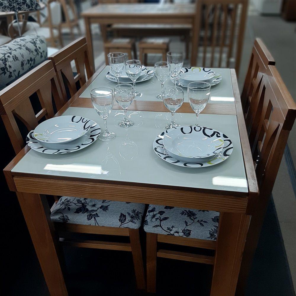 Sala de Jantar Mesa Elástica Londres com 4 Cadeiras Olinda Cor Pinhão com vidro Off- White