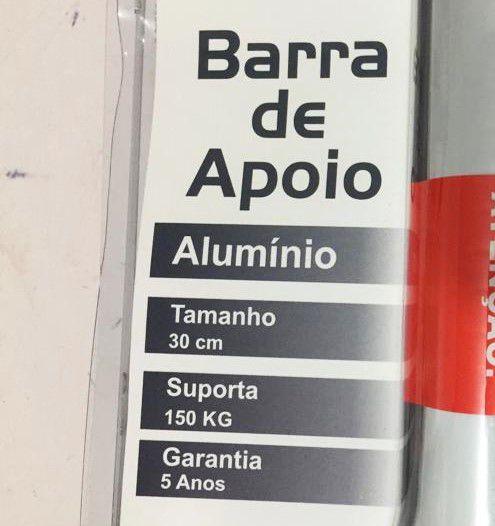 Barra de Apoio Reta em Alumínio Levevida 30 cm branca