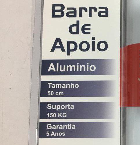 Barra de Apoio Reta em Alumínio Levevida 50 cm branca