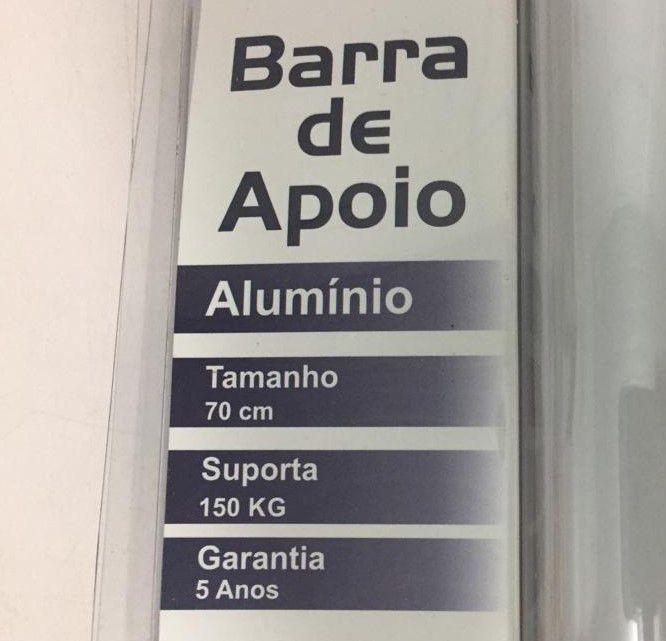 Barra de Apoio Reta em Alumínio Levevida 70 cm branca