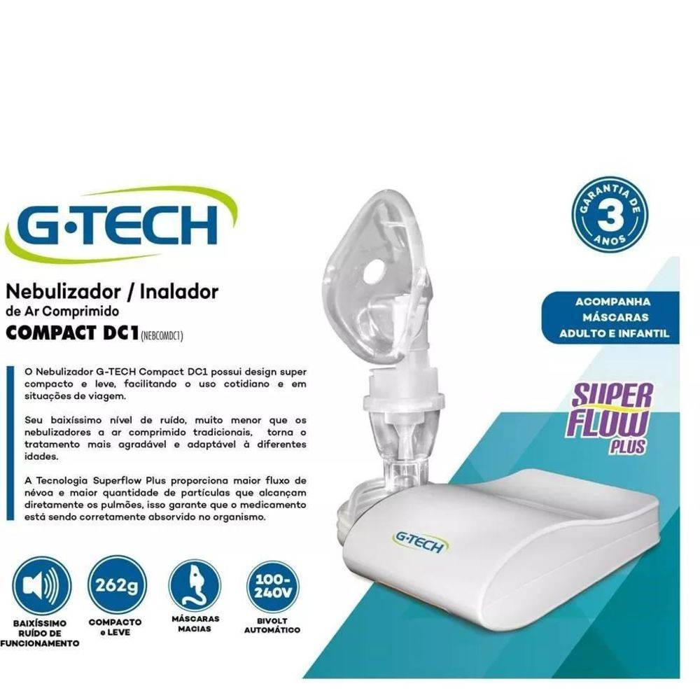 Nebulizador Inalador de Ar Comprimido G-Tech Compact DC1 Bivolt