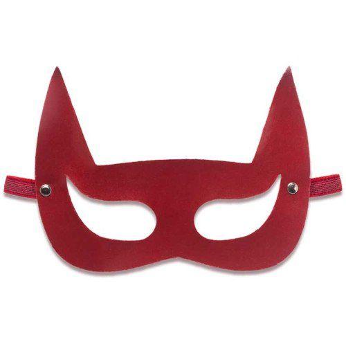 Mascara Em Couro Eco Diabinha Vermelha Com Tira Elástica