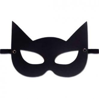 Mascara Em Couro Eco Gata Preta Com Tira Elástica