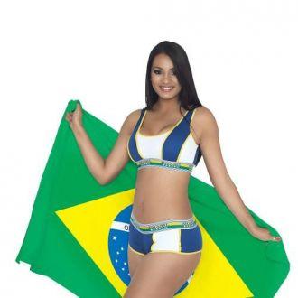 Uniforme Bela Torcedora Com Top E Shorts Cores Brasil 5295
