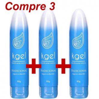 KGel Lubrificante Neutro Base D'água 80g Anal Vaginal 3 Pçs