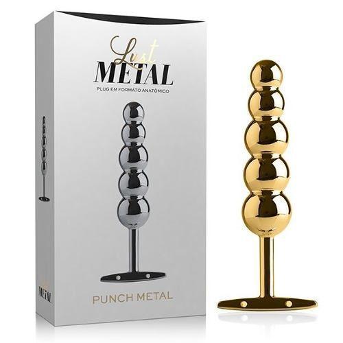 Plug Anal De Metal Dourado Punch Com Esferas LM025