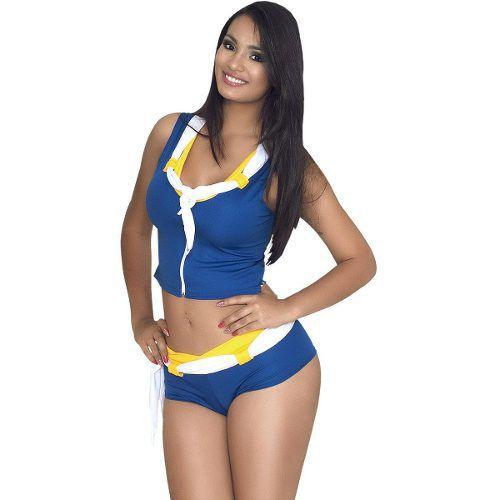 Conjunto Torcedora Com Short E Blusa Com Zíper Azul 5294