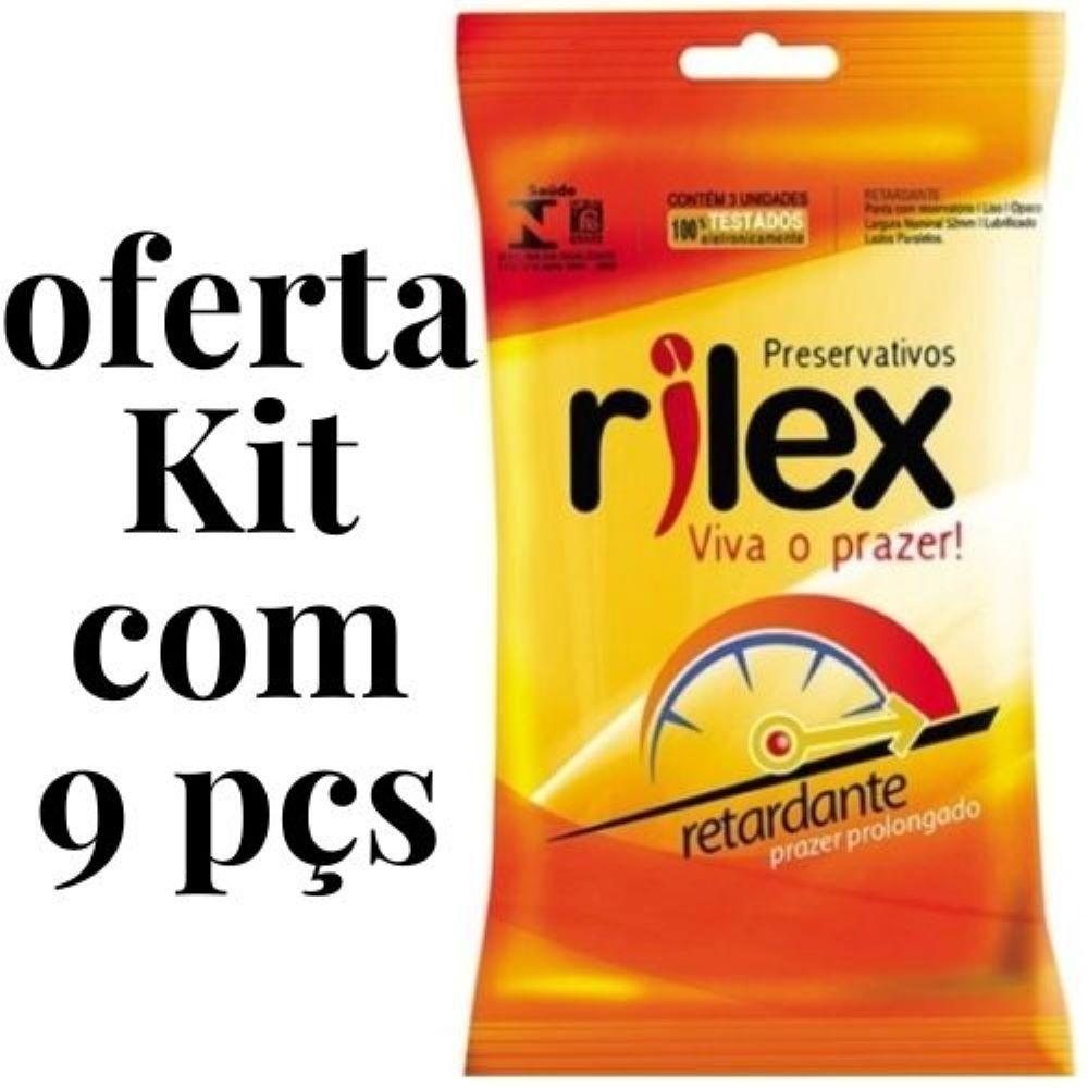 Kit 9 Peças Preservativo Rilex Retardante Prazer Prolongado