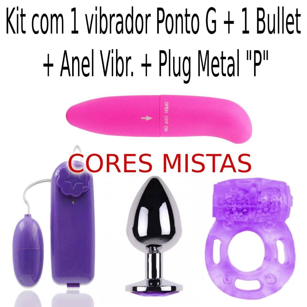 Kit Vib. Ponto G + Bullet + Anel + Plug Metal Joia Anal P