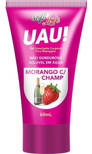 Soft Love Uau! Lubrificante Base Aguá Aroma Morango C/ Champ