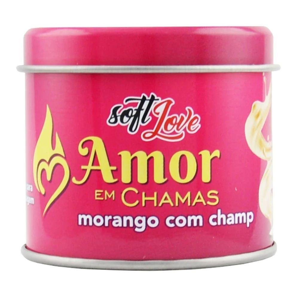 Soft Love Vela Beijável Hot Amor Chamas Morango Com Champ