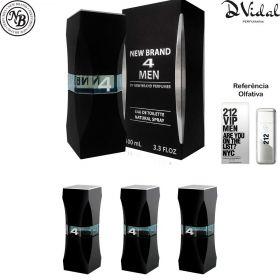 Combo 03 Perfumes 4 Men Eau de Toilette New Brand - Perfume Masculino 100 ML