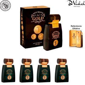 Combo 04 Perfumes - Gold Men Eau de Toilette New Brand - Perfume Masculino 100ml