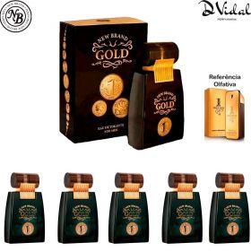 Combo 05 Perfumes - Gold Men Eau de Toilette New Brand - Perfume Masculino 100ml