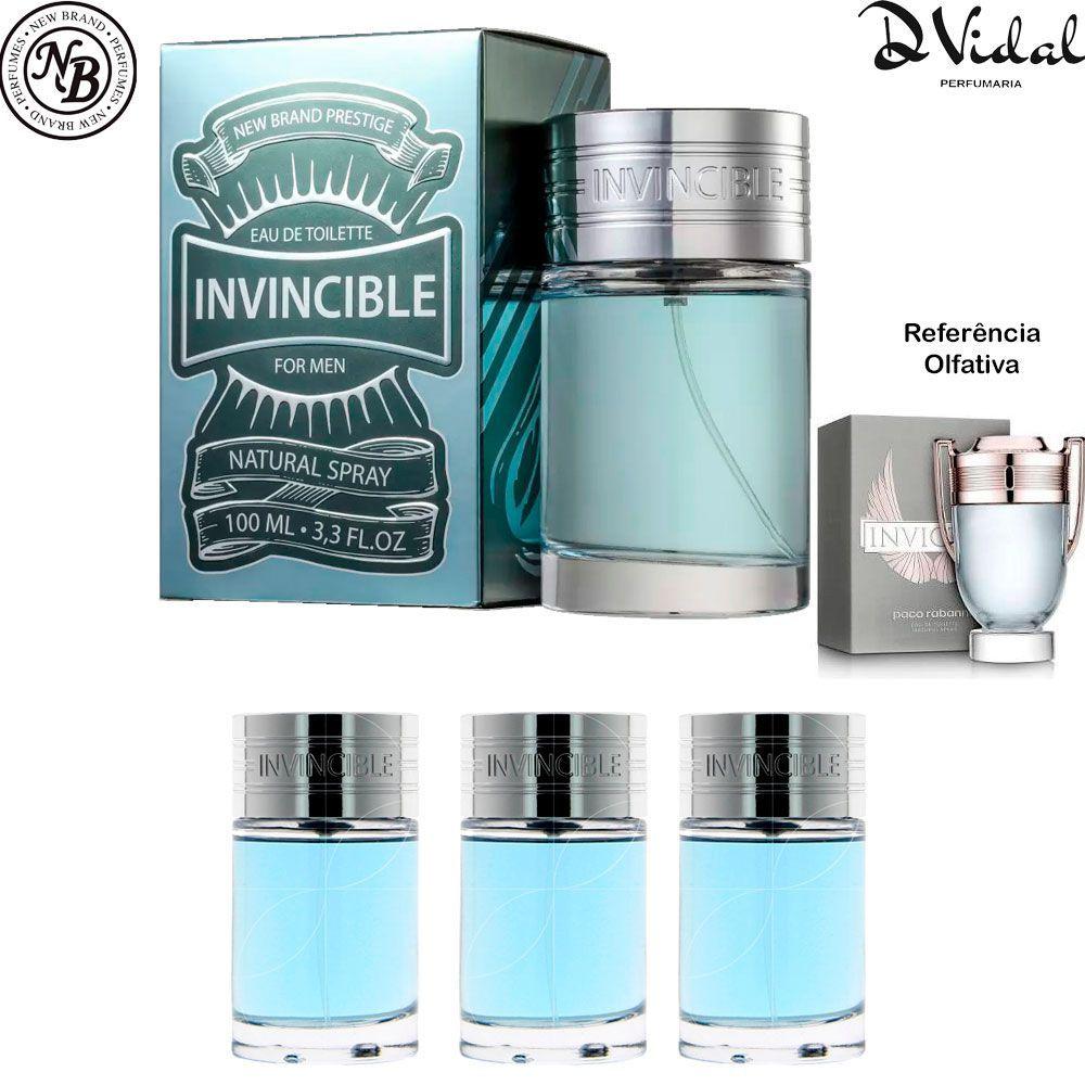 Combo 03 Perfumes - Invincible Eau de Toilette New Brand - Perfume Masculino 100ml