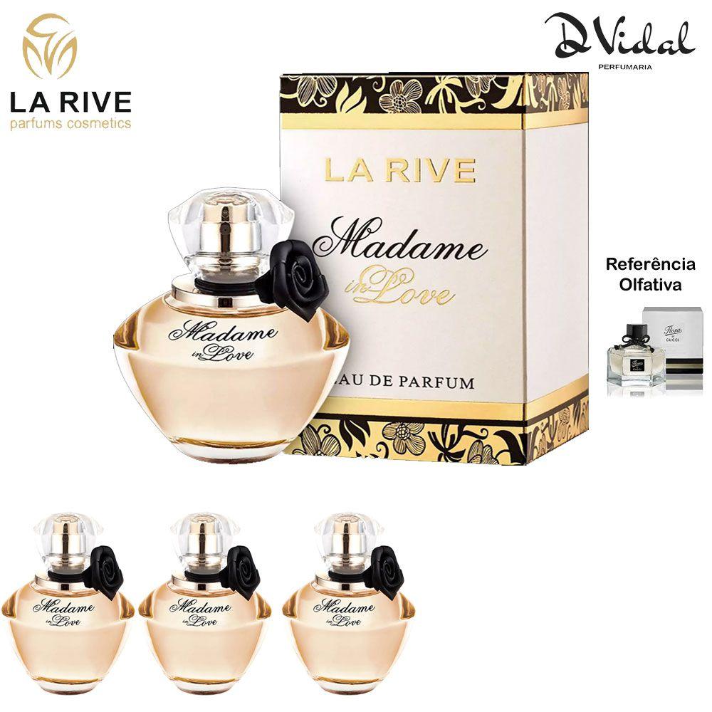 Combo 03 Perfumes - Madame In Love La Rive Eau de Parfum - Perfume Feminino 90ml