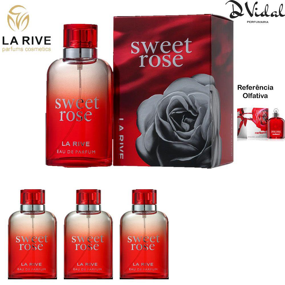 Combo 03 Perfumes - Sweet Rose La Rive Feminino Eau De Parfum - Perfume Feminino 90ml