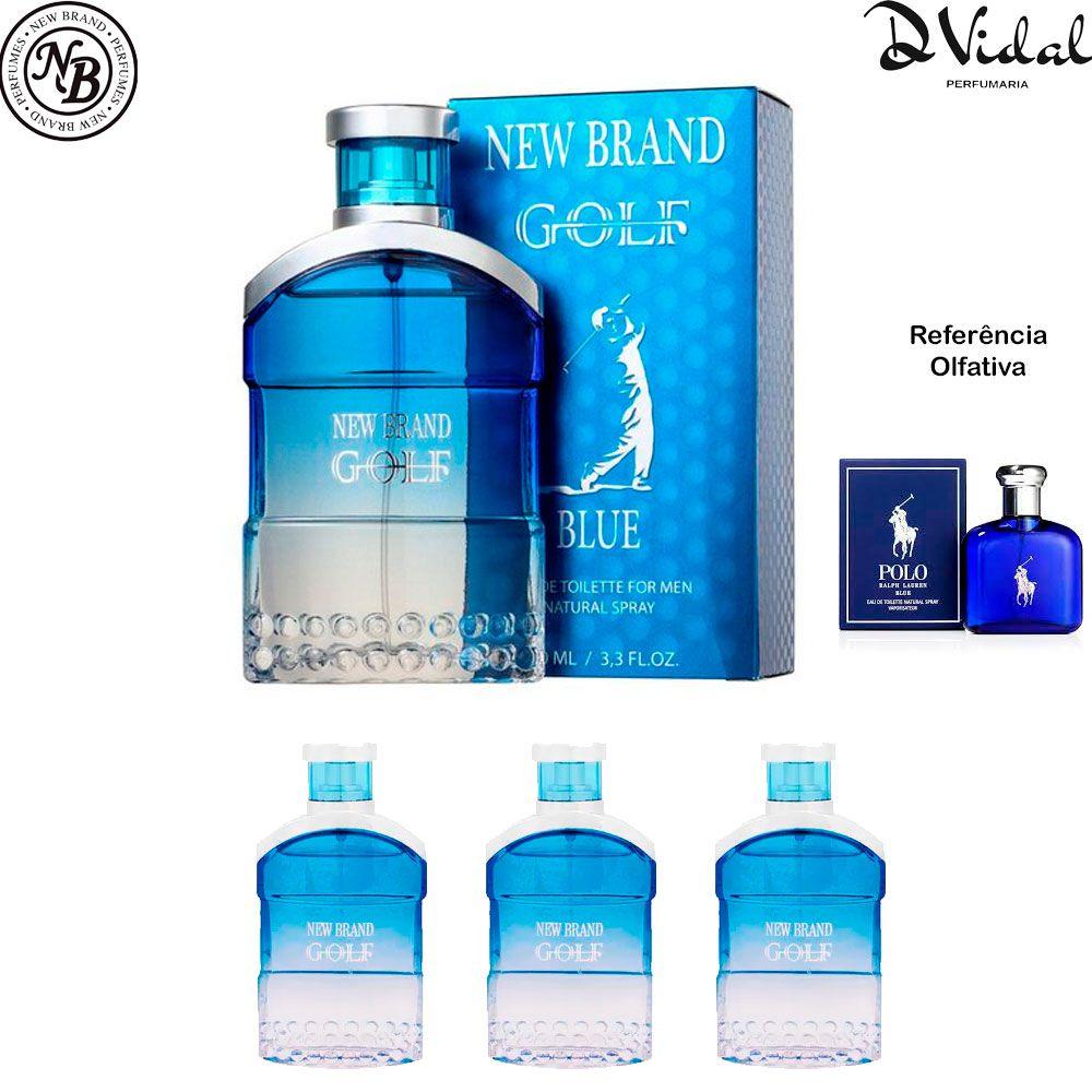 Combo 03 Perfumes Golf Blue New Brand Eau de Toilette - Perfume Masculino 100ml