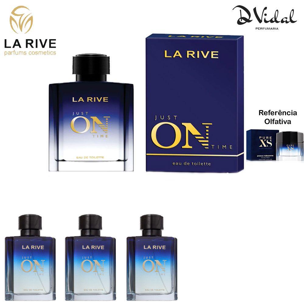 Combo 03 Perfumes Just On Time La Rive Eau de Toilette - Perfume Masculino 100ml