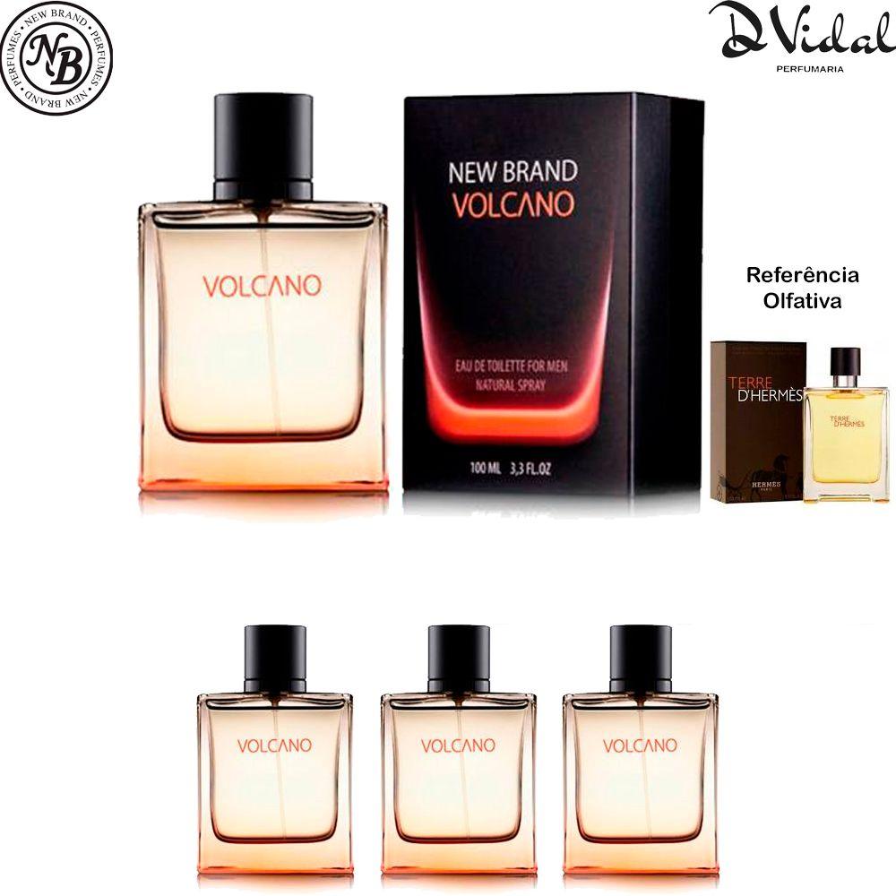 Combo 03 Perfumes - Volcano For Men Eau de Toilette New Brand - Perfume Masculino 100ml