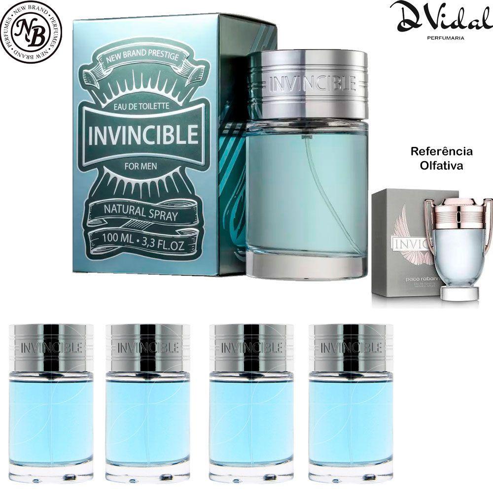 Combo 04 Perfume - Invincible Eau de Toilette New Brand - Perfume Masculino 100ml