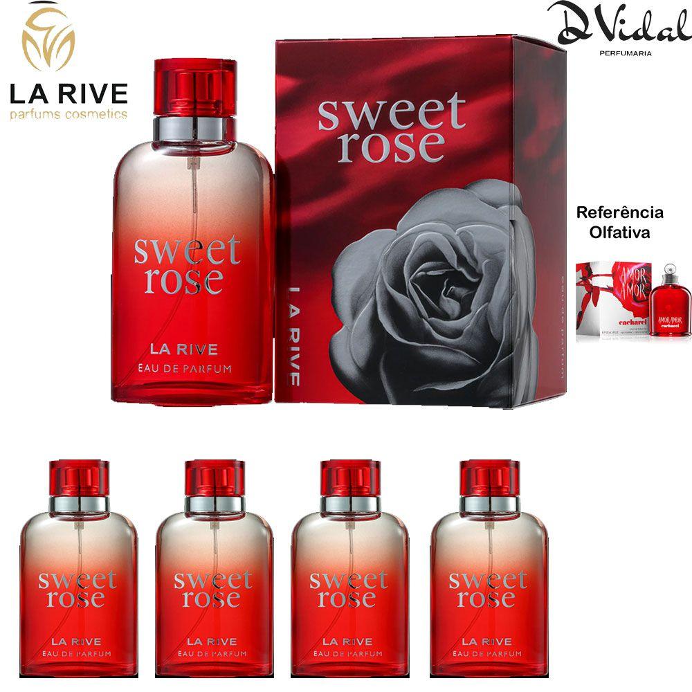 Combo 04 Perfumes - Sweet Rose La Rive Feminino Eau de Parfum - Perfume Feminino 90ML
