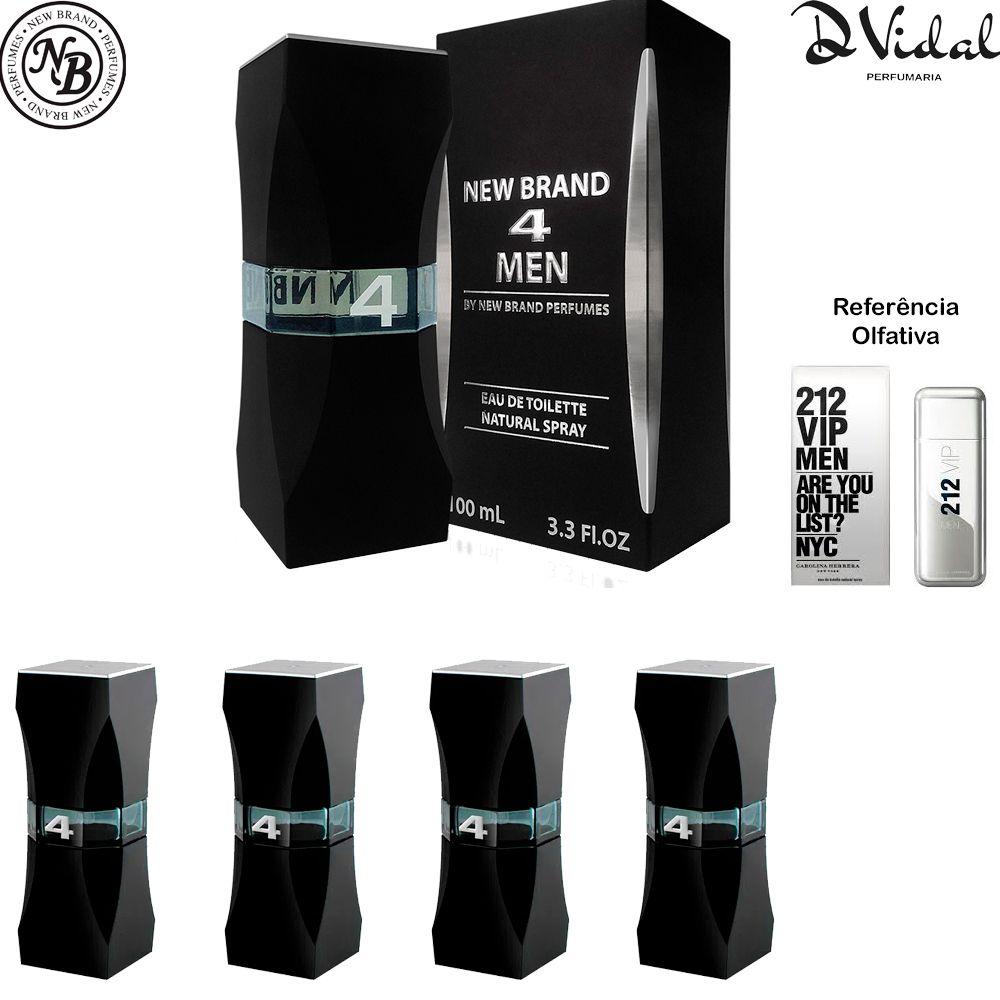 Combo 04 Perfumes - 4 Men Eau de Toilette New Brand - Perfume Masculino 100 ML
