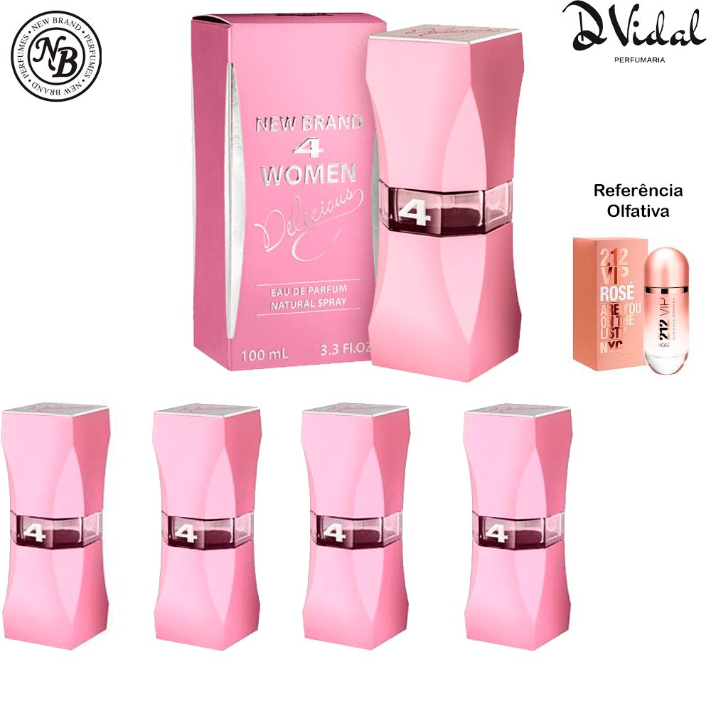 Combo 04 Perfumes - 4 Women Delicious Eau de Parfum New Brand - Perfume Feminino 100ml