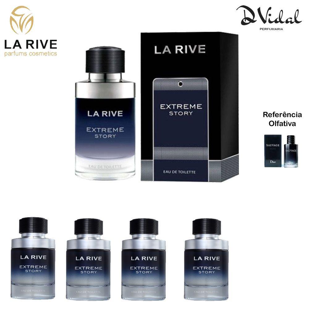 Combo 04 Perfumes - Extreme Story La Rive Eau de Toilette - Perfume Masculino 75ml