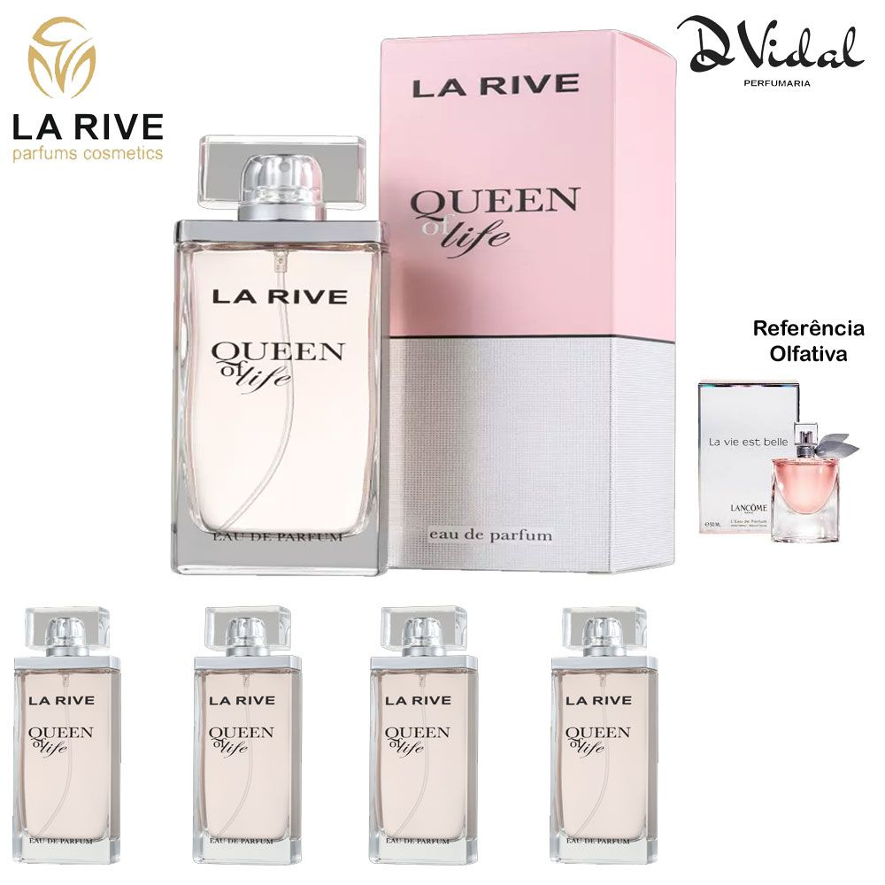 Combo 04 Perfumes - Queen Of Life La Rive Eau de Parfum - Perfume Feminino 75ml