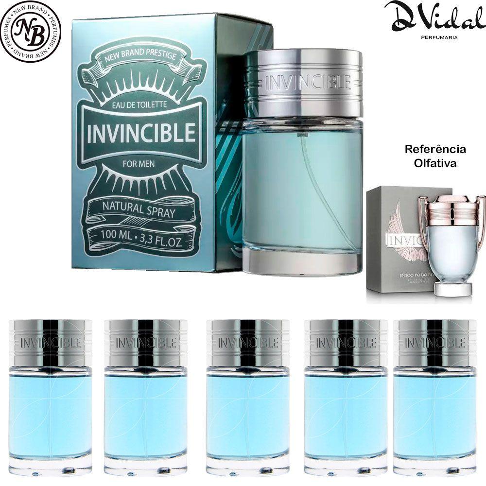 Combo 05 Perfumes - Invincible Eau de Toilette New Brand - Perfume Masculino 100ml