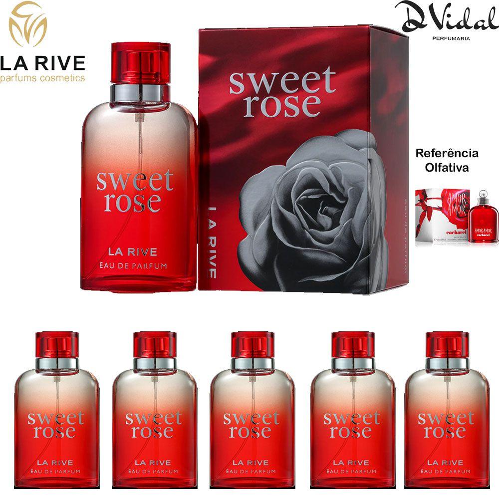 Combo 05 Perfumes - Sweet Rose La Rive Feminino Eau de Parfum - Perfume Feminino 90ML
