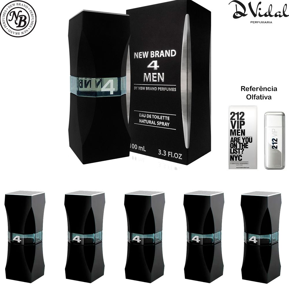 Combo 05 Perfumes - 4 Men Eau de Toilette New Brand - Perfume Masculino 100ml