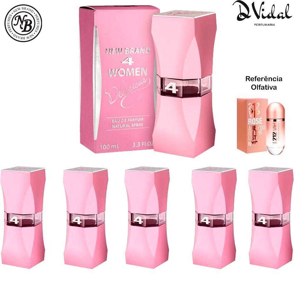 Combo 05 Perfumes - 4 Women Delicious Eau de Parfum New Brand - Perfume Feminino 100ml