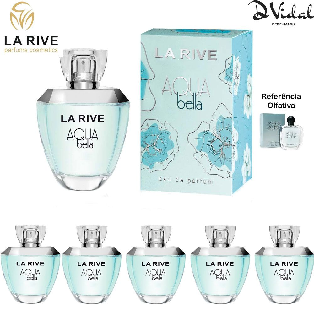 Combo 05 Perfumes - Aqua Bella La Rive Eau de Parfum - Perfume Feminino 100ml