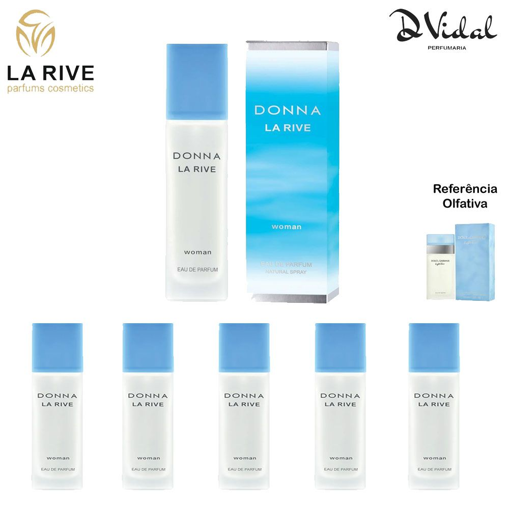 Combo 05 Perfumes - Donna La Rive Eau de Parfum - Perfume Feminino 90ml