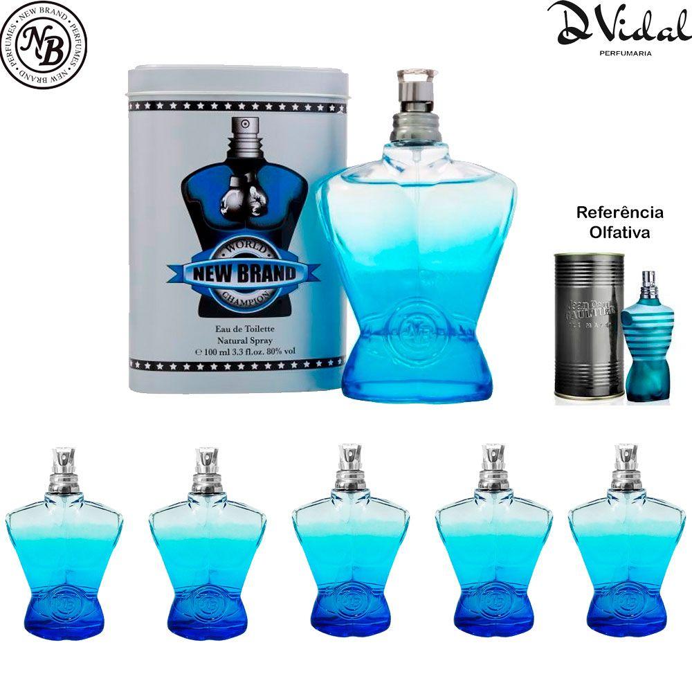 Combo 05 Perfumes - World Champion Blue Eau de Toilette New Brand - Perfume Masculino 100ml