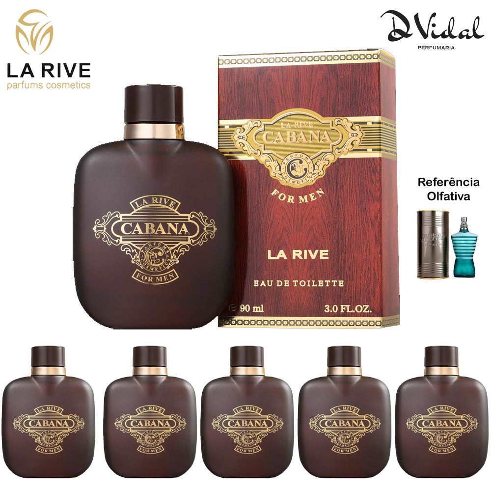 Combo 05 Perfumes - Cabana La Rive Eau de Toilette - Perfume Masculino 90ml