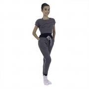 Conjunto Calça Saruel e Blusa modelo Cropped Estampa em Silk
