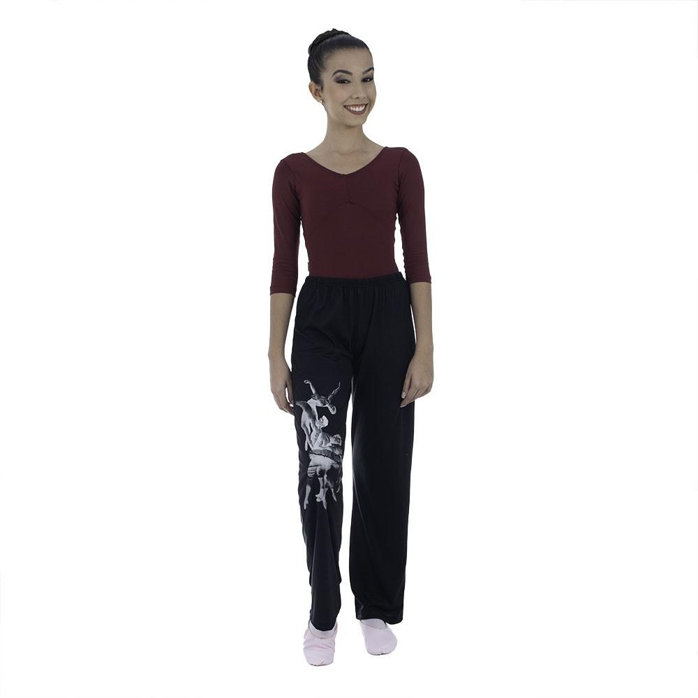 Calça preta com cós em cores - Malha PV