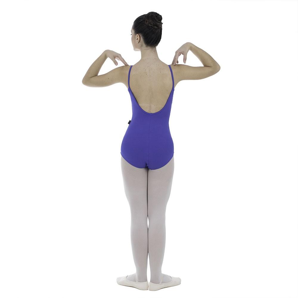 Collant suplex costas arredondada com alças em galão